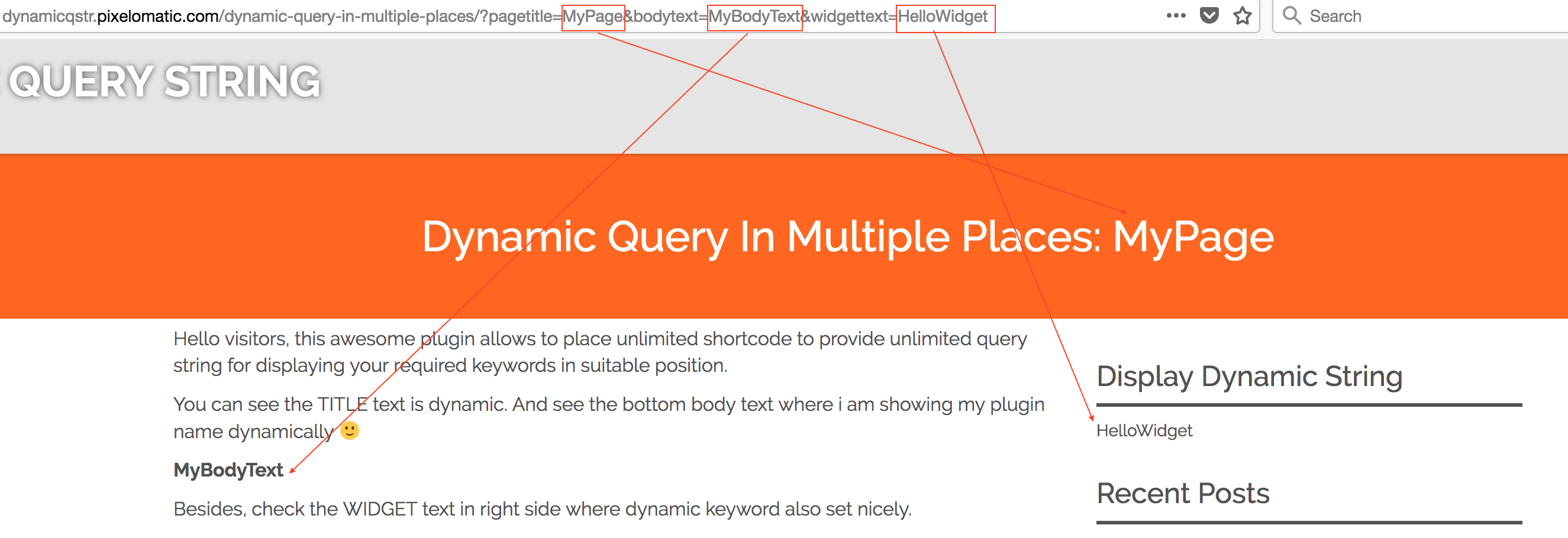 dynamic query string