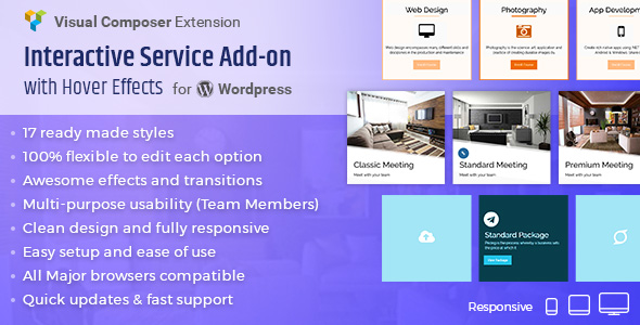 Interactive Service Add-On with Hover Effects for Visual Composer